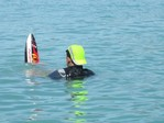 Hi-vis water skier